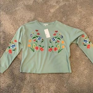 Embroidered floral crop top